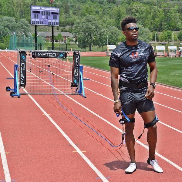 track and field athlete using vertimax speed training equipment