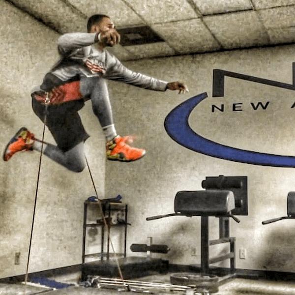 athlete training on vertimax vertical jump training equipment
