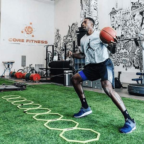 pro basketball player jeff green using vertimax v8 speed training equipment mid-season