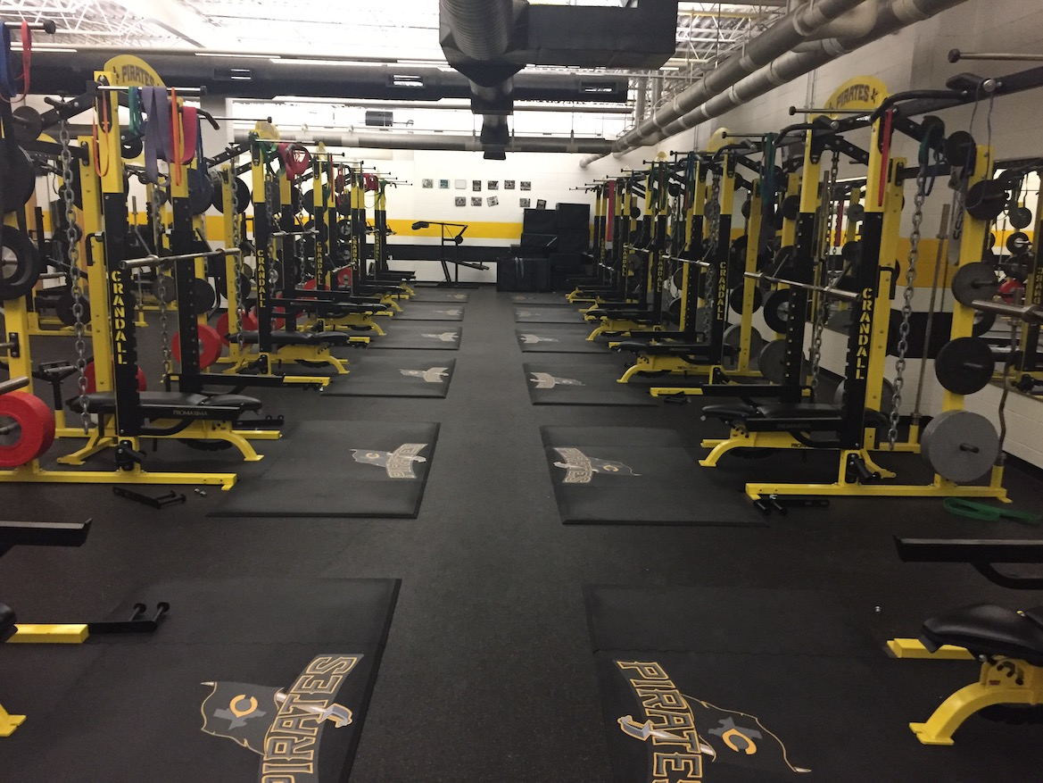 Crandall High School Weightlifting Platforms with Crandall Pirates Logos