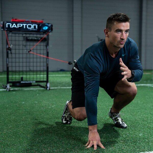 athlete training on vertimax football training equipment